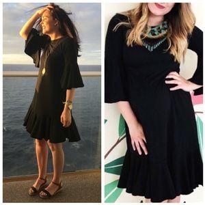 Lularoe Maurine Flutter Sleeve Ruffle Dress Black